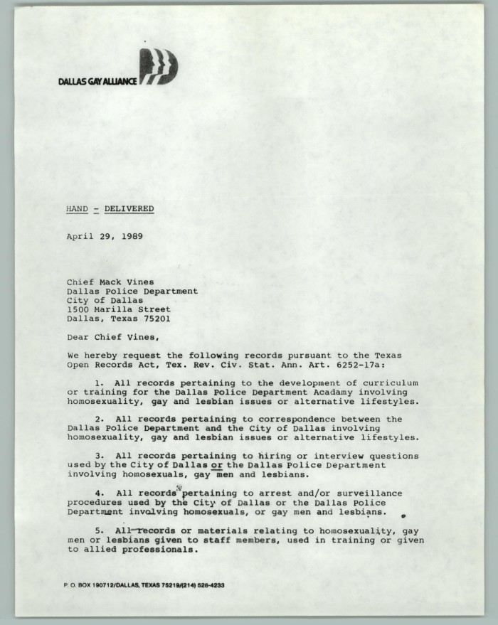 Letter with signature formal request dallas gay alliance primary view of object titled letter with signature formal request dallas gay thecheapjerseys Image collections