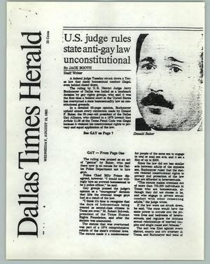 Primary view of object titled '[News Article: Anti-Gay Law Unconstituional]'.