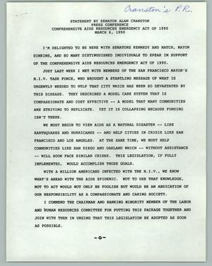 Primary view of object titled '[Press Conference: Statement by Senator Alan Cranston]'.