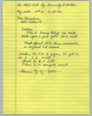 Primary view of object titled '[Notes: Re:AIDS Bill by Kennedy & Hatch]'.