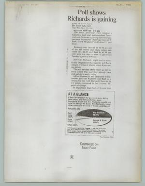 Primary view of object titled '[Newspaper Clipping: Poll Shows Richards is Gaining]'.
