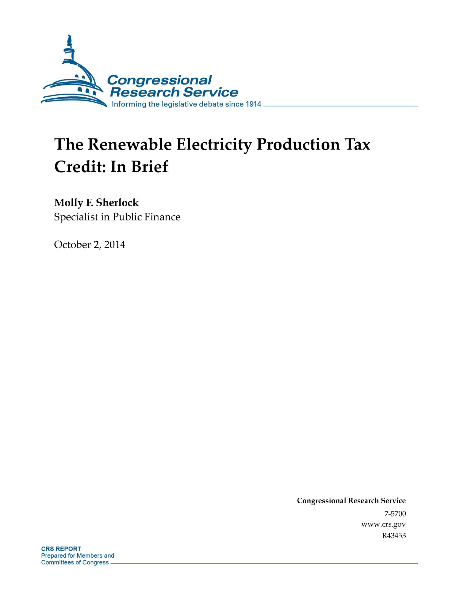 The Renewable Electricity Production Tax Credit: In Brief                                                                                                      [Sequence #]: 1 of 15