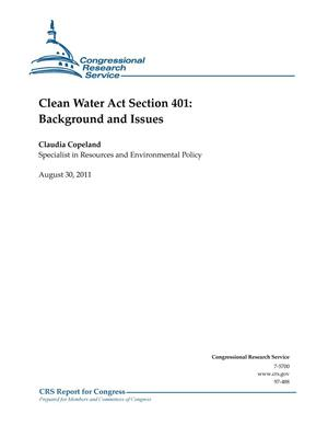 Primary view of object titled 'Clean Water Act Section 401: Background and Issues'.