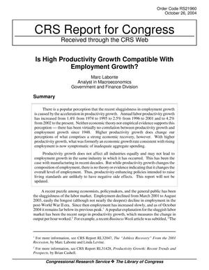 Primary view of object titled 'Is High Productivity Growth Compatible With Employment Growth?'.