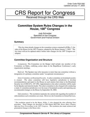 Primary view of object titled 'Committee System Rules Changes in the House, 108th Congress'.