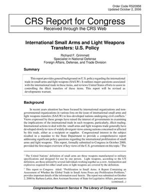 Primary view of object titled 'International Small Arms and Light Weapons Transfers: U.S. Policy'.