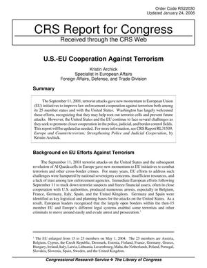 Primary view of object titled 'U.S.-EU Cooperation Against Terrorism'.