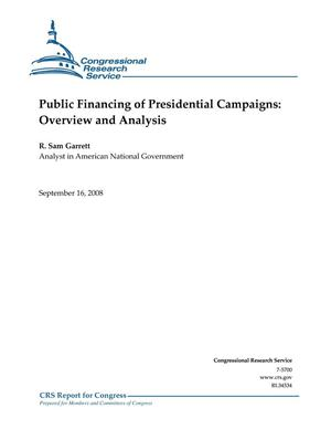 Primary view of object titled 'Public Financing of Presidential Campaigns: Overview and Analysis'.