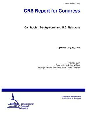 Primary view of object titled 'Cambodia: Background and U.S. Relations'.