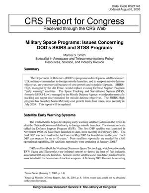 Primary view of object titled 'Military Space Programs: Issues Concerning DOD's SBIRS and STSS Programs'.