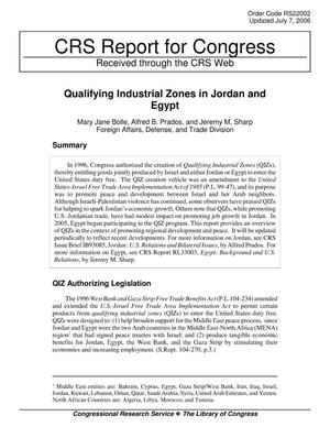 Primary view of object titled 'Qualifying Industrial Zones in Jordan and Egypt'.