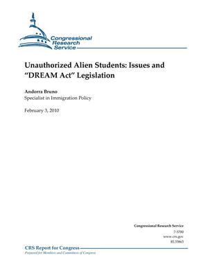 "Primary view of object titled 'Unauthorized Alien Students: Issues and ""DREAM Act"" Legislation'."
