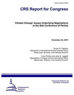 Primary view of object titled 'Climate Change: Issues Underlying Negotiations at the Bali Conference of Parties'.