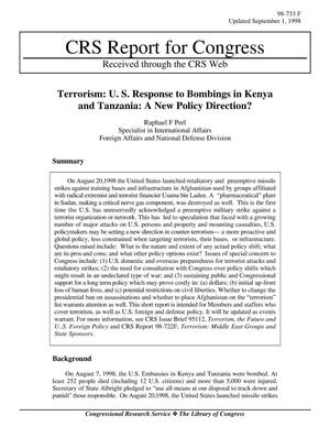 Primary view of object titled 'Terrorism: U. S. Response to Bombings in Kenya and Tanzania: A New Policy Direction?'.