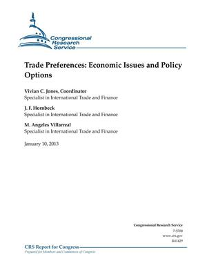 Primary view of object titled 'Trade Preferences: Economic Issues and Policy Options'.