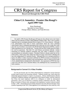 Primary view of object titled 'China-U.S. Summitry: Premier Zhu Rongji's April 1999 Visit'.