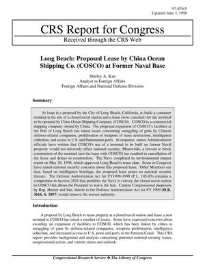 Primary view of object titled 'Long Beach: Proposed Lease by China Ocean Shipping Co. (COSCO) at Former Naval Base'.