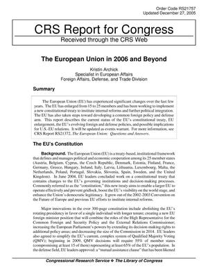 Primary view of object titled 'The European Union in 2006 and Beyond'.