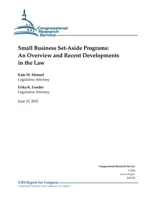 Primary view of object titled 'Small Business Set-Aside Programs: An Overview and Recent Developments in the Law'.