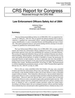 Primary view of object titled 'Law Enforcement Officers Safety Act of 2004'.