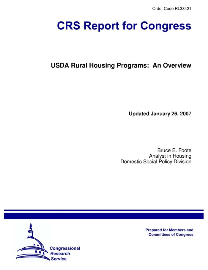Primary View Of Object Titled U0027USDA Rural Housing Programs: An Overviewu0027.