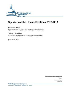 Primary view of object titled 'Speakers of the House: Elections, 1913-2013'.