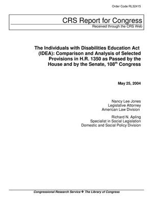 Primary view of object titled 'The Individuals with Disabilities Education Act (IDEA): Comparison and Analysis of Selected Provisions in H.R. 1350 as Passed by the House and by the Senate, 108th Congress'.