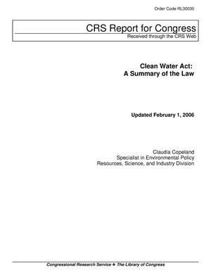 Primary view of object titled 'Clean Water Act: A Summary of the Law'.