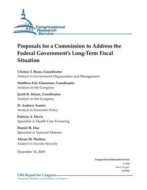 Primary view of object titled 'Proposals for a Commission to Address the Federal Government's Long-Term Fiscal Situation'.