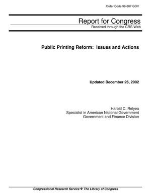 Primary view of object titled 'Public Printing Reform: Issues and Actions'.