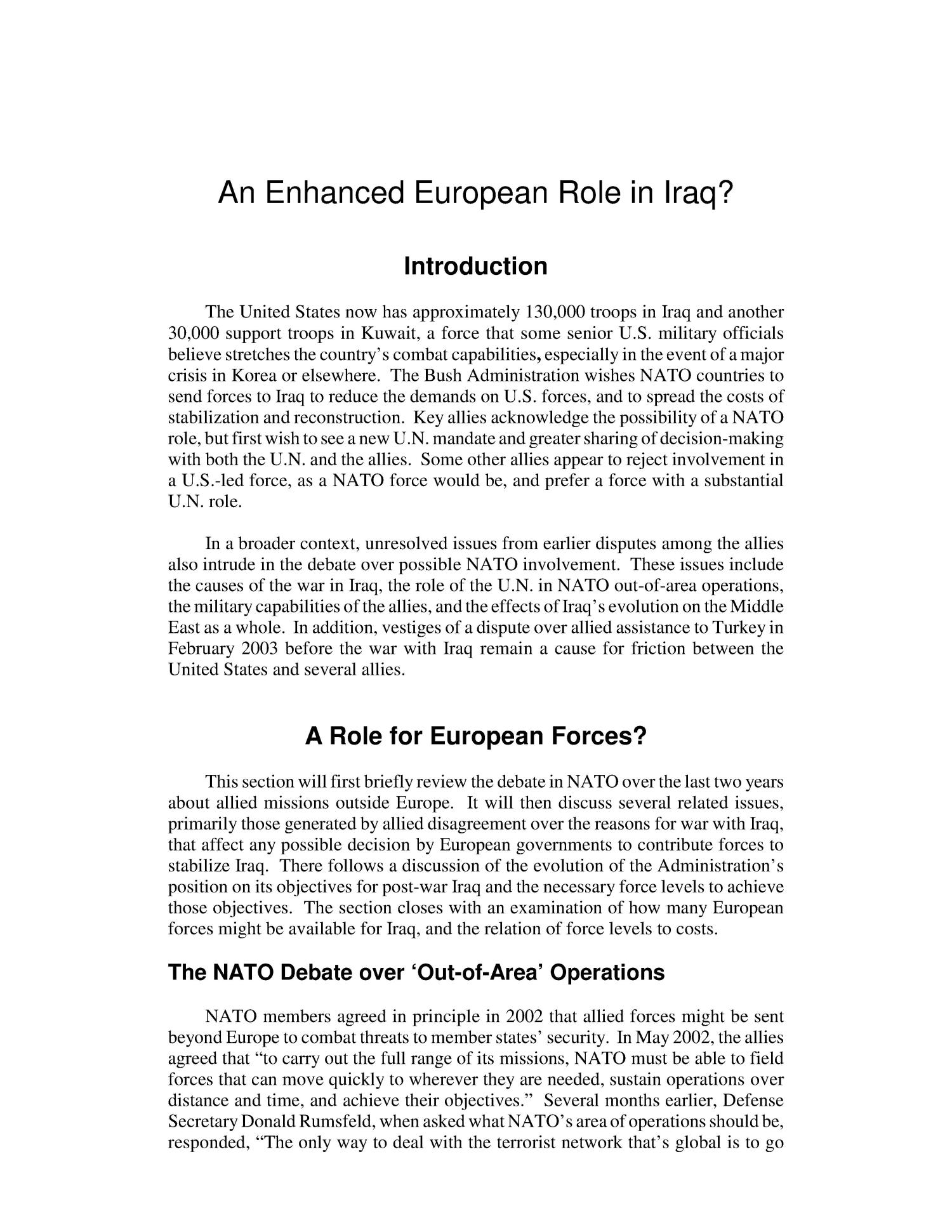 An Enhanced European Role in Iraq?                                                                                                      [Sequence #]: 4 of 15