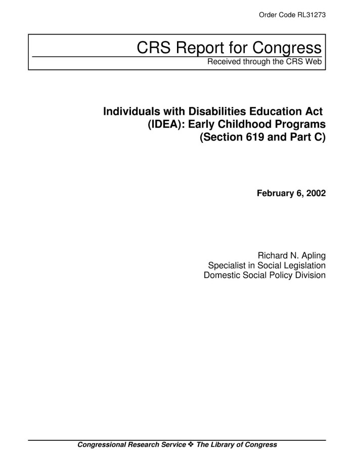 Individuals with Disabilities Education Act (IDEA): Early