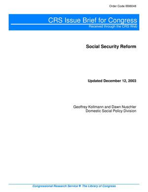 Primary view of object titled 'Social Security Reform'.