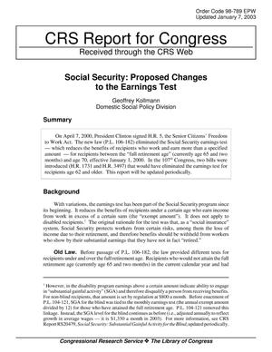 Primary view of object titled 'Social Security: Proposed Changes to the Earnings Test'.