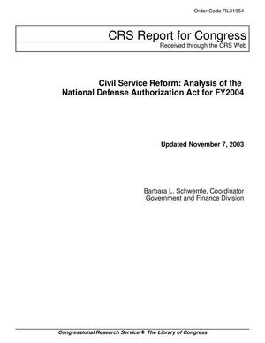 Primary view of object titled 'Civil Service Reform: Analysis of the National Defense Authorization Act for FY2004'.