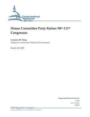 Primary view of object titled 'House Committee Party Ratios: 98th-111th Congresses'.
