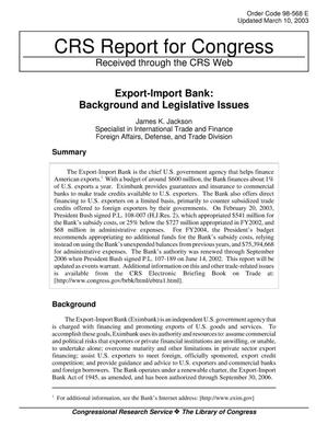 Primary view of object titled 'Export-Import Bank: Background and Legislative Issues'.