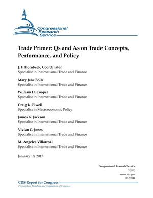 Primary view of object titled 'Trade Primer: Qs and As on Trade Concepts, Performance, and Policy'.