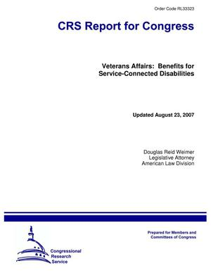 Primary view of object titled 'Veterans Affairs: Benefits for Service-Connected Disabilities'.