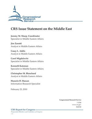 Primary view of object titled 'CRS Issue Statement on the Middle East'.