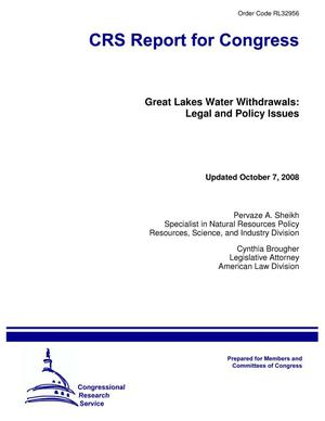 Primary view of object titled 'Great Lakes Water Withdrawals: Legal and Policy Issues'.