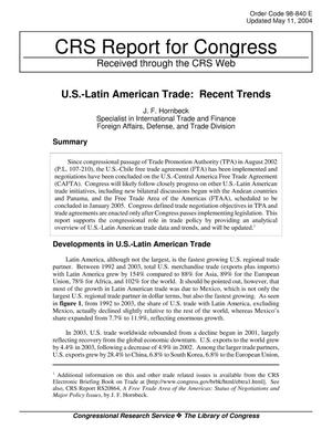 Primary view of object titled 'U.S.-Latin American Trade: Recent Trends'.