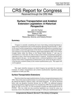 Primary view of object titled 'Surface Transportation and Aviation Extension Legislation: A Historical Perspective'.