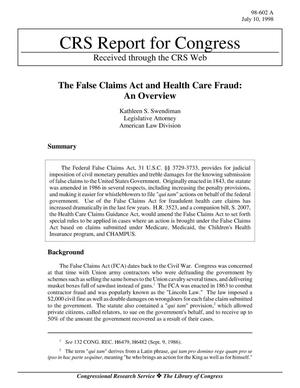 Primary view of object titled 'The False Claims Act and Health Care Fraud: An Overview'.