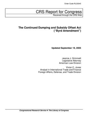 "Primary view of object titled 'The Continued Dumping and Subsidy Offset Act (""Byrd Amendment"")'."
