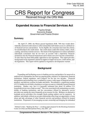 Primary view of object titled 'Expanded Access to Financial Services Act'.