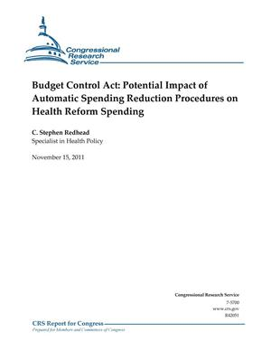 Primary view of object titled 'Budget Control Act: Potential Impact of Automatic Spending Reduction Procedures on Health Reform Spending'.