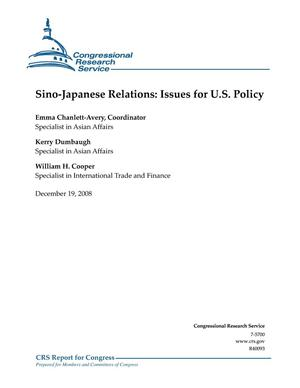 Primary view of object titled 'Sino-Japanese Relations: Issues for U.S. Policy'.