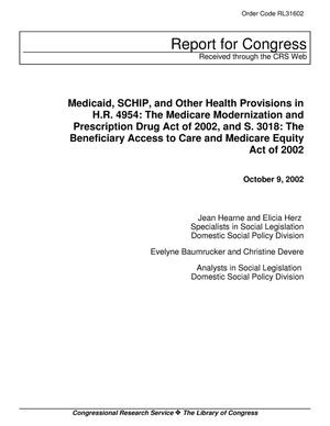 Primary view of object titled 'Medicaid, SCHIP, and Other Health Provisions in H.R. 4954: The Medicare Modernization and Prescriptions Drug Act of 2002, and S. 3018: The Beneficiary Access to Care and Medicare Equity Act of 2002'.