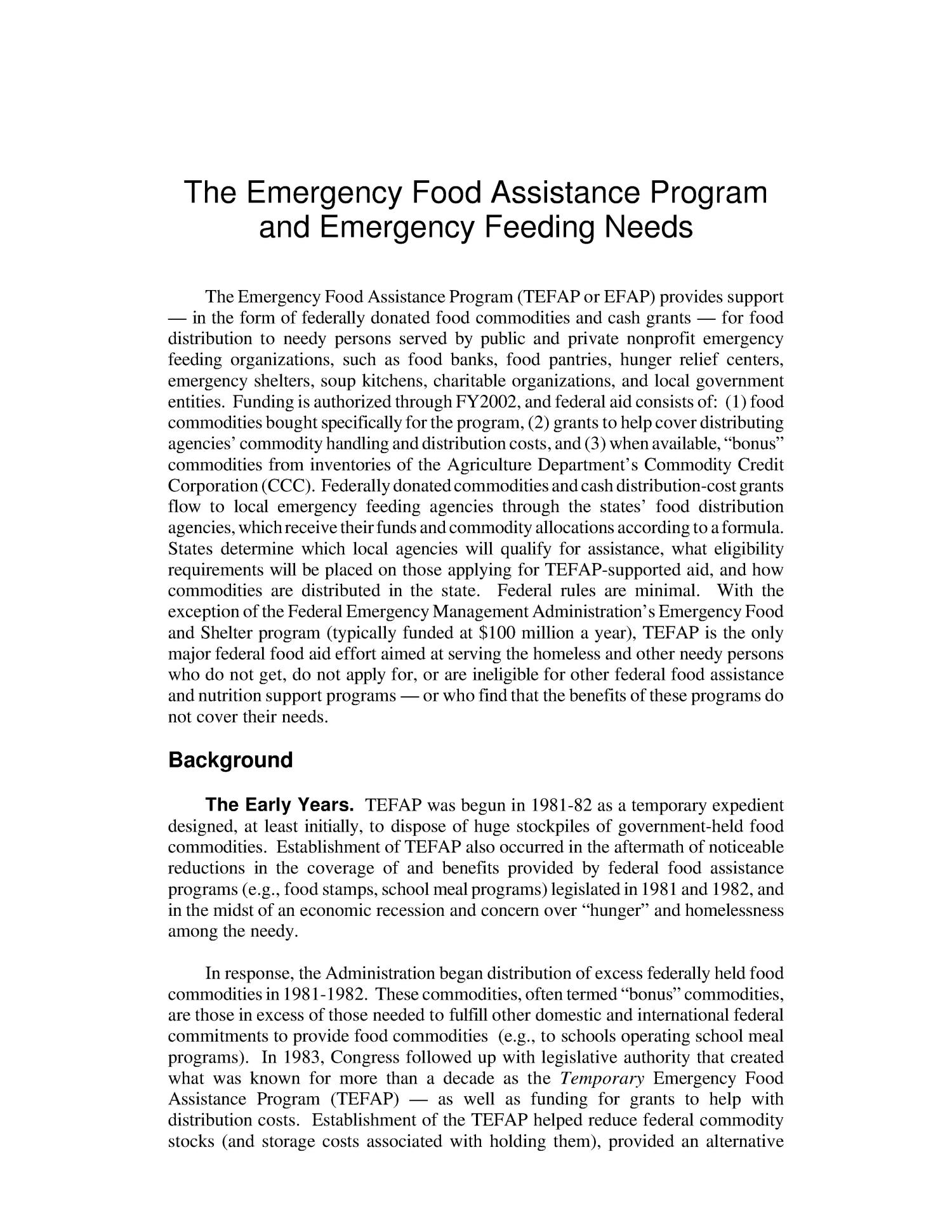 The Emergency Food Assistance Program and Emergency Feeding Needs                                                                                                      [Sequence #]: 4 of 20